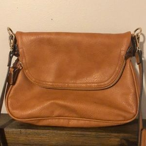 Brown with gold detail crossbody purse
